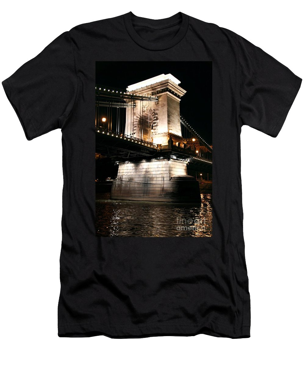 Chain Bridge At Night Men's T-Shirt (Athletic Fit) featuring the photograph Chain Bridge At Night by Mariola Bitner
