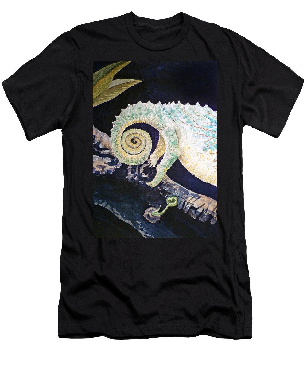 Chameleon Men's T-Shirt (Athletic Fit) featuring the painting Chameleon Tail by Irina Sztukowski