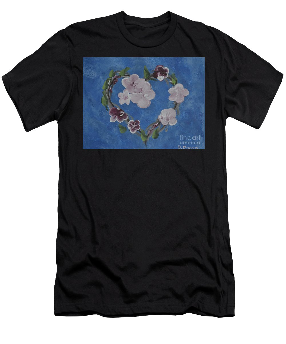 Painting Men's T-Shirt (Athletic Fit) featuring the painting Cherry Blossom Heart by Donna Brown