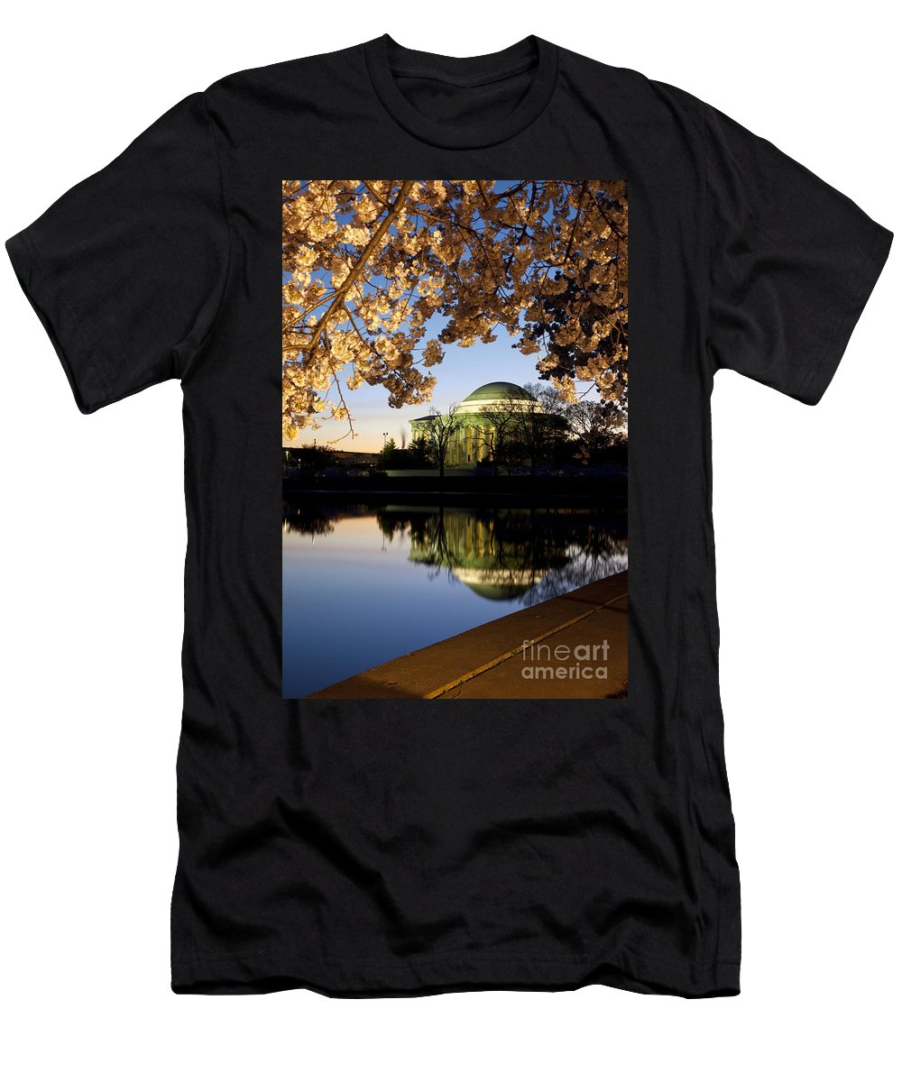 Dawn Men's T-Shirt (Athletic Fit) featuring the photograph Cherry Blossoms At Dawn by Brian Jannsen