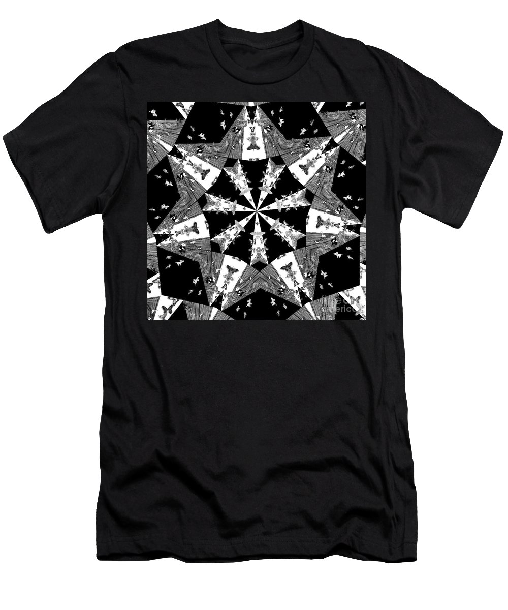 Butterflies Men's T-Shirt (Athletic Fit) featuring the photograph Children Animals Kaleidoscope Black And White by Donna Brown
