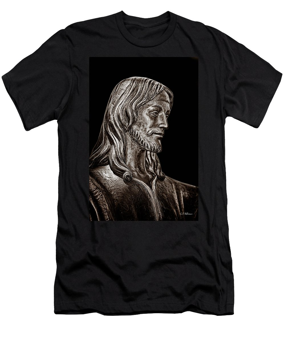 Monochrome Men's T-Shirt (Athletic Fit) featuring the photograph Christ In Bronze - Bw by Christopher Holmes