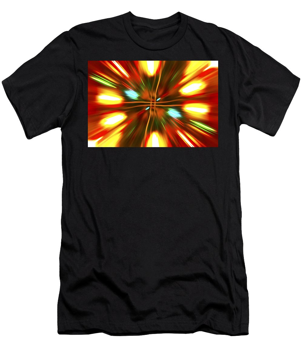 Christmas Lights Men's T-Shirt (Athletic Fit) featuring the photograph Christmas Light Abstract by Steve Purnell