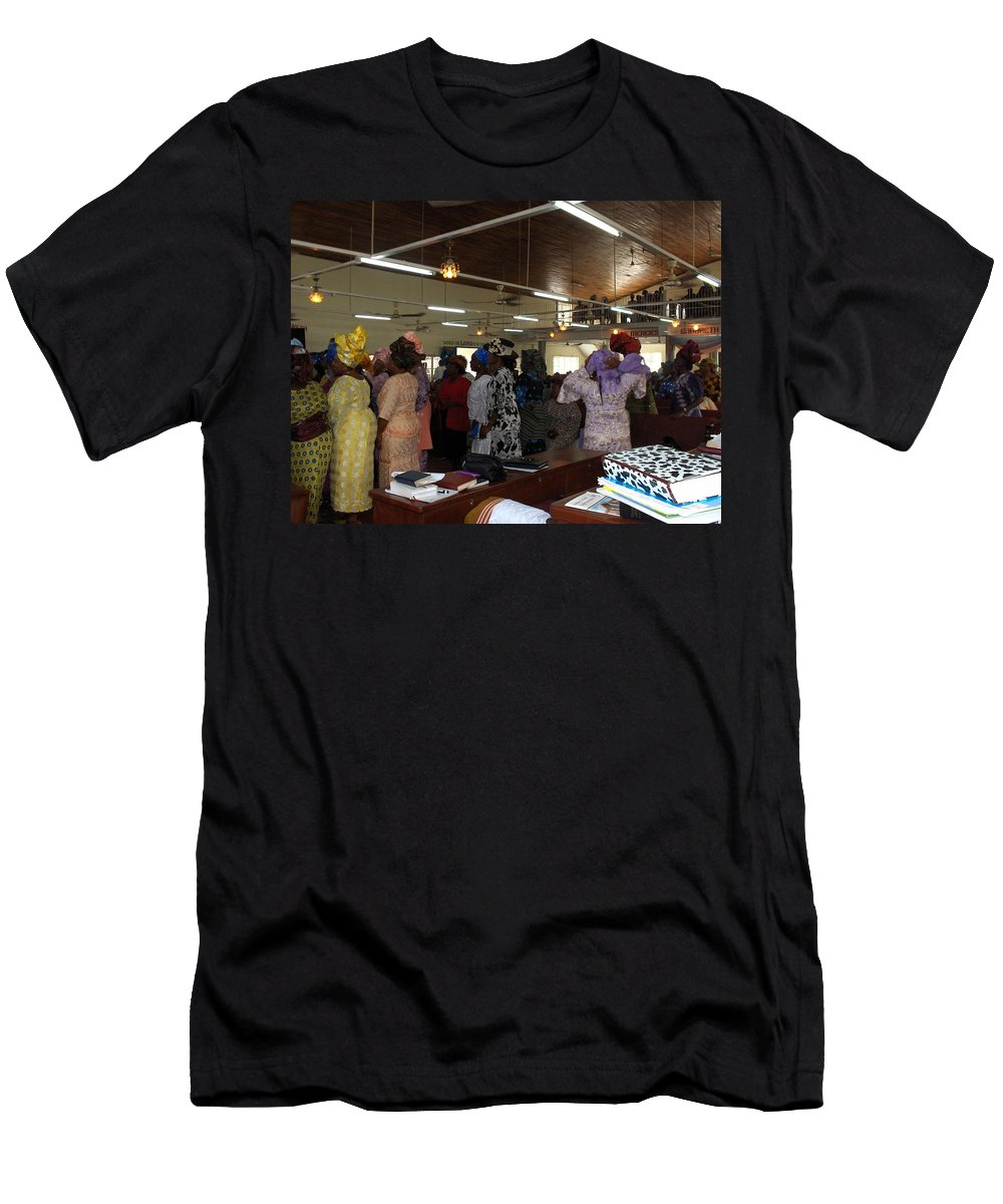 Church Men's T-Shirt (Athletic Fit) featuring the photograph Church Service In Nigeria by Amy Hosp