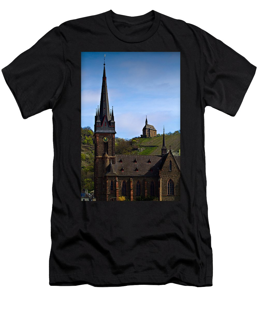 Hdr Men's T-Shirt (Athletic Fit) featuring the photograph Churches Of Lorchhausen - Color by Bill Lindsay