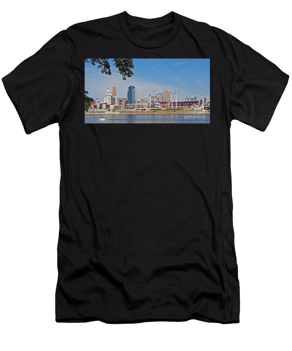 Cincinnati Men's T-Shirt (Athletic Fit) featuring the photograph Cincinnati Panorama by Stephen Whalen