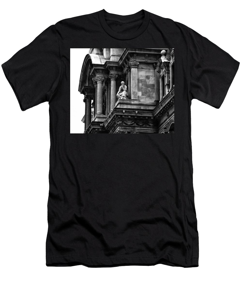 City Hall Edifice - Philadelphia Men's T-Shirt (Athletic Fit) featuring the photograph City Hall Edifice - Philadelphia by Bill Cannon