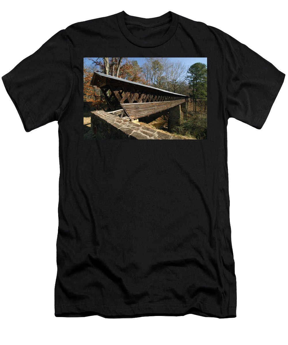 History Men's T-Shirt (Athletic Fit) featuring the photograph Clarkson Covered Bridge by Tim Litwiller