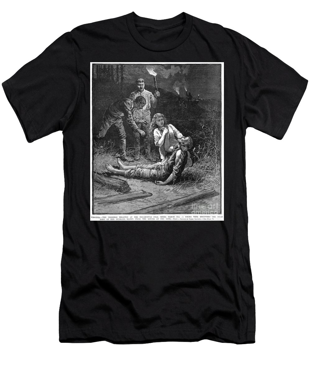 1884 Men's T-Shirt (Athletic Fit) featuring the photograph Coal Mine Disaster, 1884 by Granger