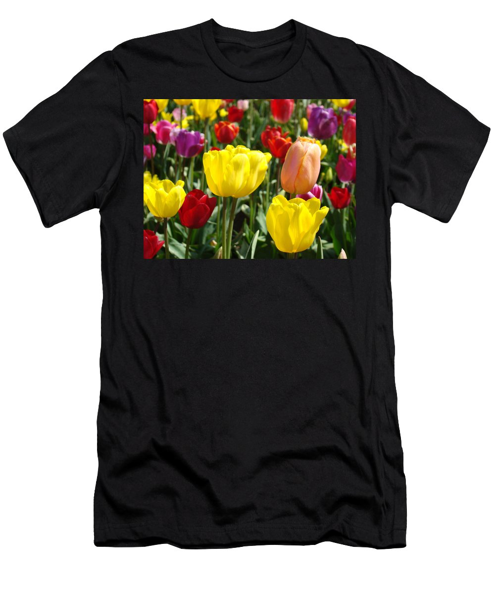 Tulip Men's T-Shirt (Athletic Fit) featuring the photograph Colorful Bright Tulip Flowers Field Tulips Floral Art Prints by Baslee Troutman