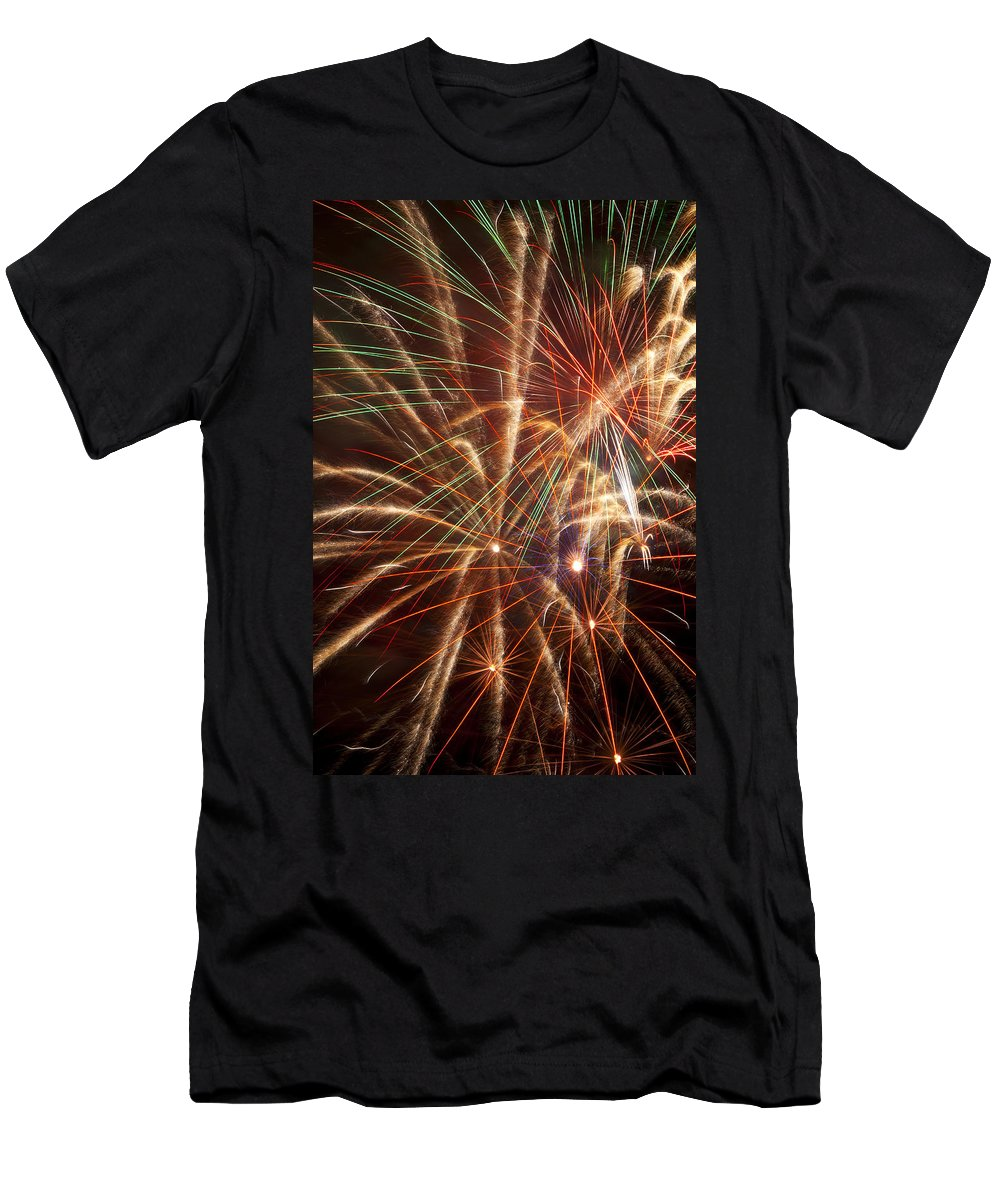 4th Of July Men's T-Shirt (Athletic Fit) featuring the photograph Colorful Fireworks by Garry Gay