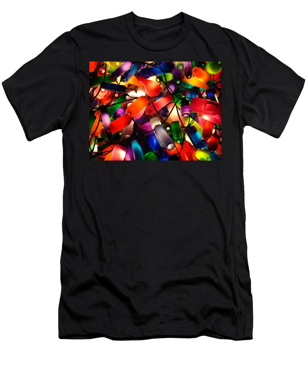Colorful Lit Men's T-Shirt (Athletic Fit) featuring the photograph Colorful Lit Water Bottles by Sumit Mehndiratta