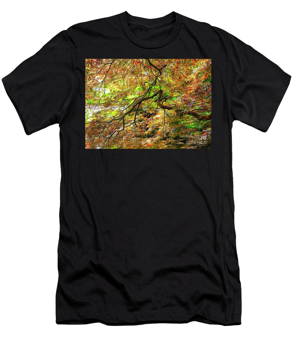 Spring Trees Men's T-Shirt (Athletic Fit) featuring the photograph Colorful Maple Leaves by Carol Groenen