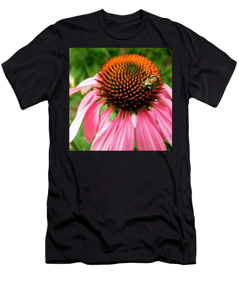 Flower Men's T-Shirt (Athletic Fit) featuring the photograph Cone Flower And Guest by Stephanie Moore