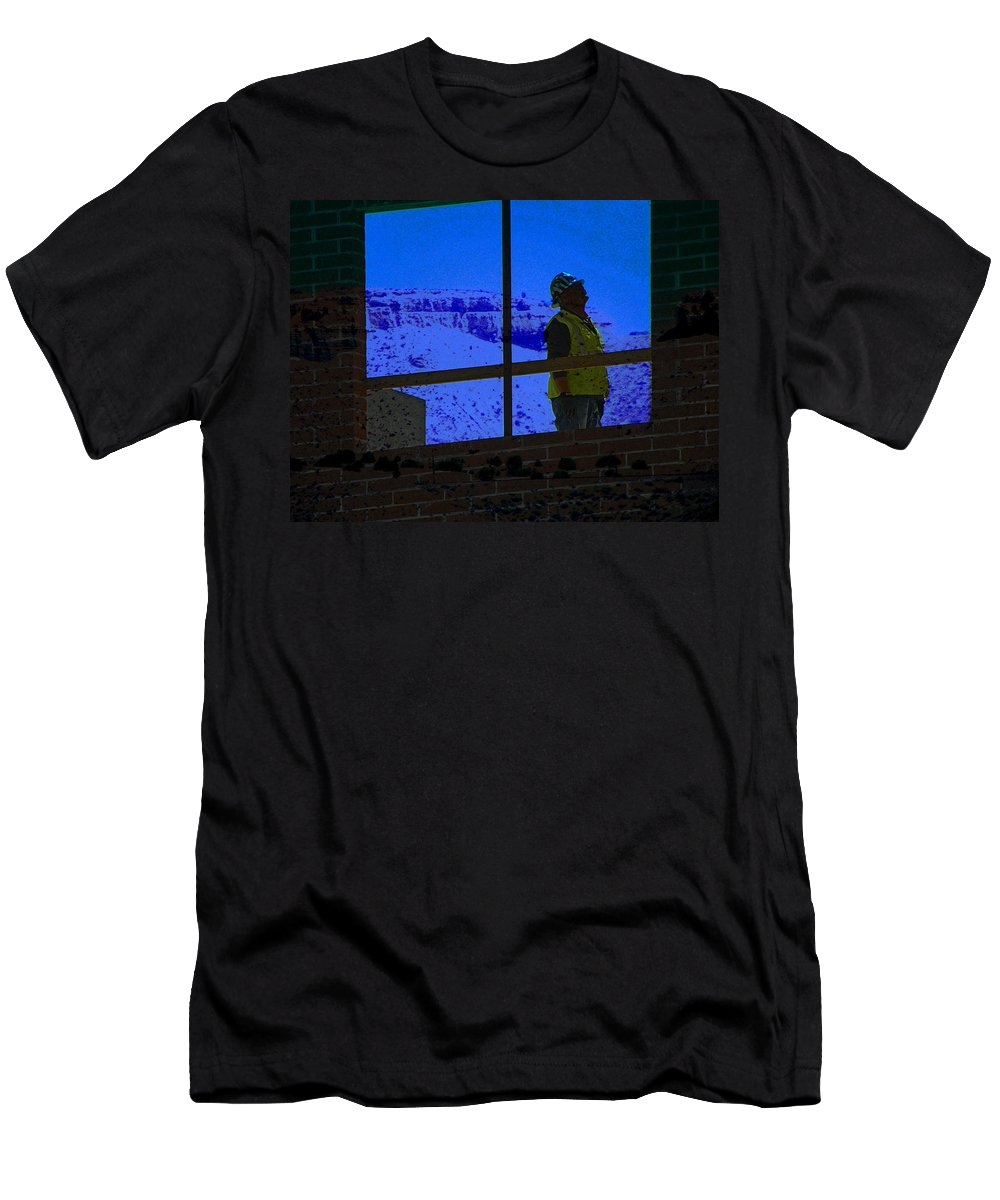 Abstract Men's T-Shirt (Athletic Fit) featuring the photograph Construction Worker by Lenore Senior