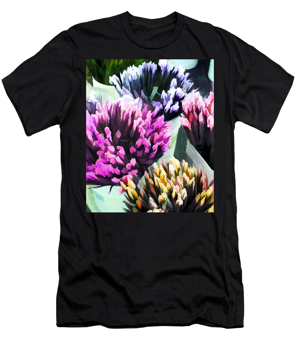 Flower Flowers Garden Iris Bucket Farmer's+market Flora Floral Nature Natural Men's T-Shirt (Athletic Fit) featuring the painting Containers Of Mixed Iris At The Farmer's Market by Elaine Plesser
