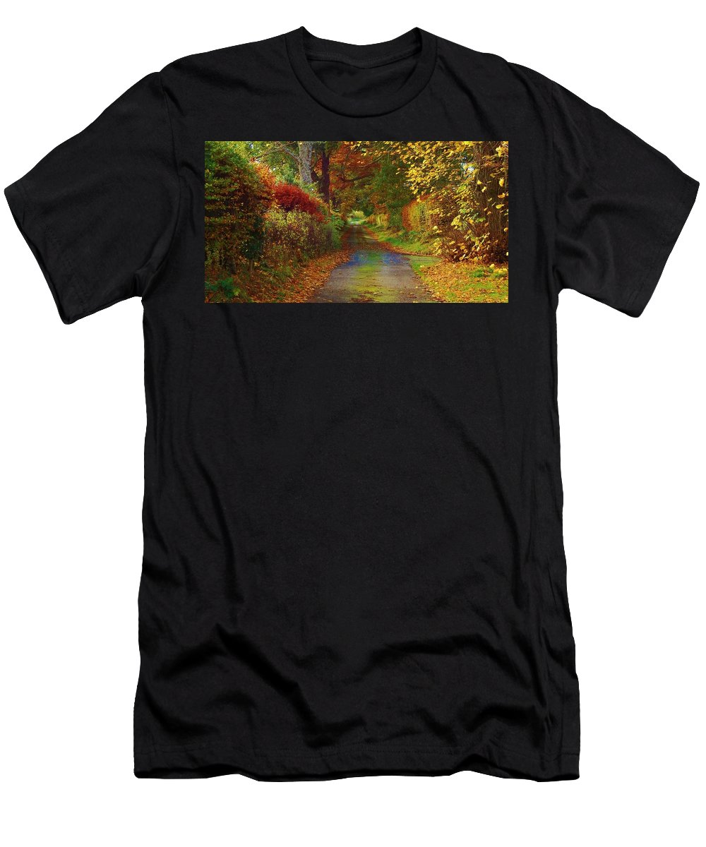 Autumn Colour Men's T-Shirt (Athletic Fit) featuring the photograph Country Lane by Gavin Macrae
