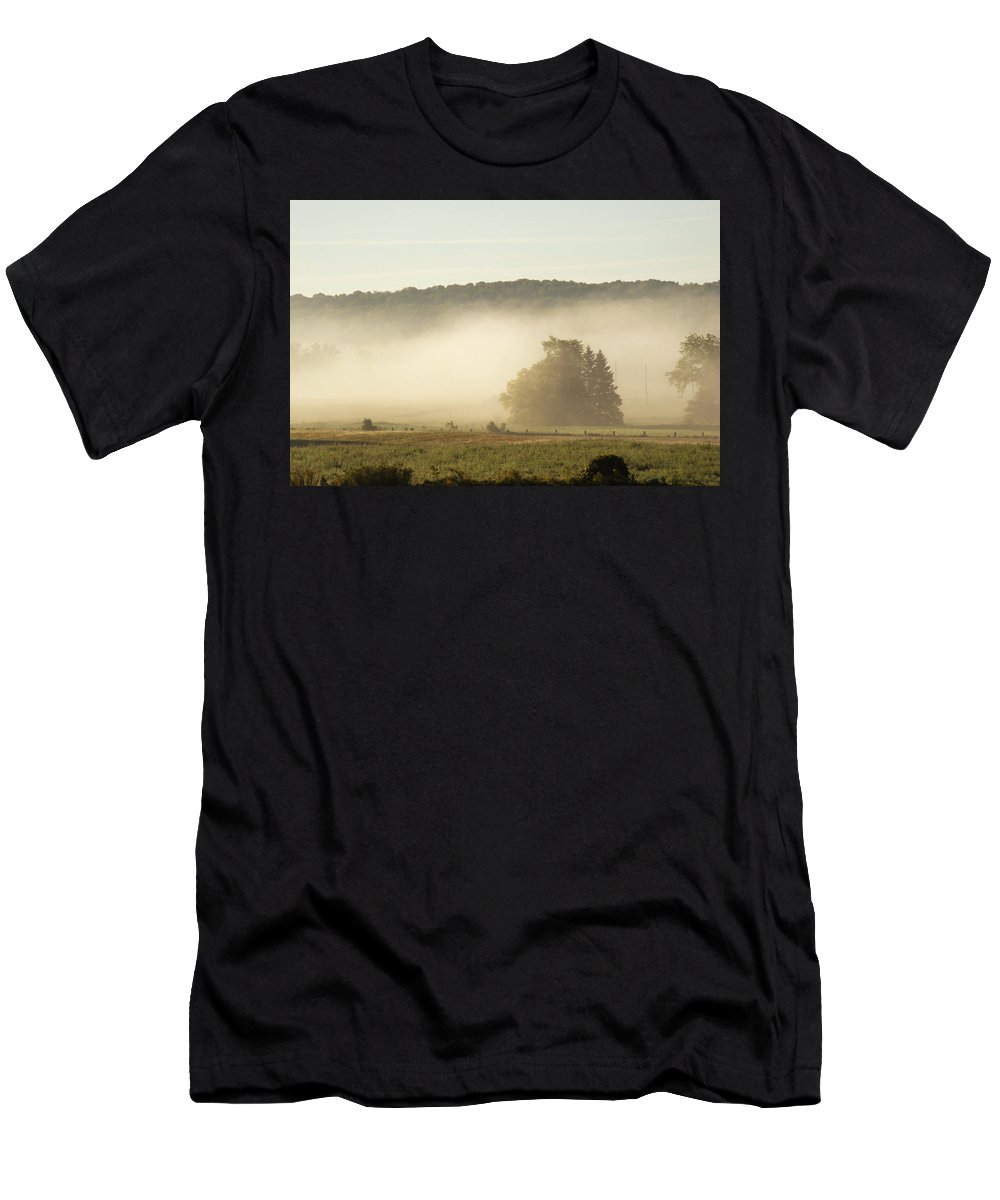 Country Men's T-Shirt (Athletic Fit) featuring the photograph Country Morning by Elaine Mikkelstrup