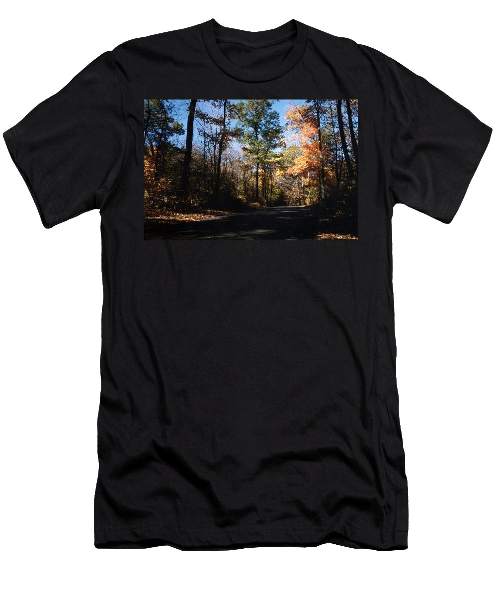 Wisconsin Men's T-Shirt (Athletic Fit) featuring the photograph Country Road In Autumn by Kay Novy