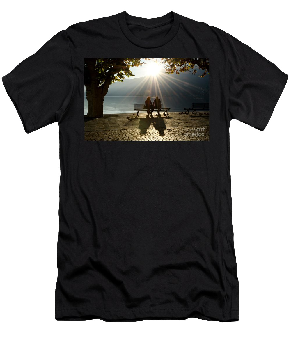 Couple Men's T-Shirt (Athletic Fit) featuring the photograph Couple On A Bench by Mats Silvan