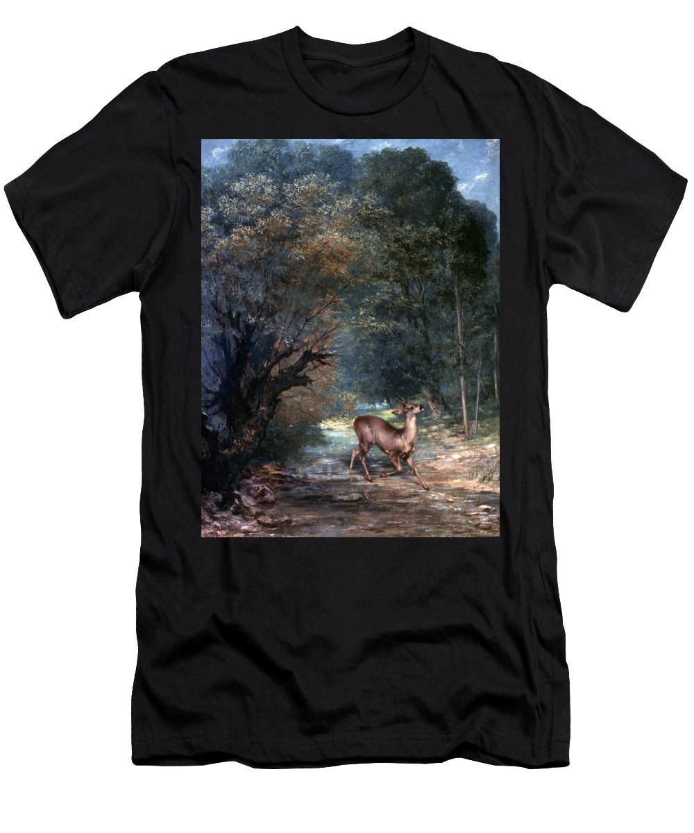 1866 Men's T-Shirt (Athletic Fit) featuring the photograph Courbet: Hunted Deer, 1866 by Granger