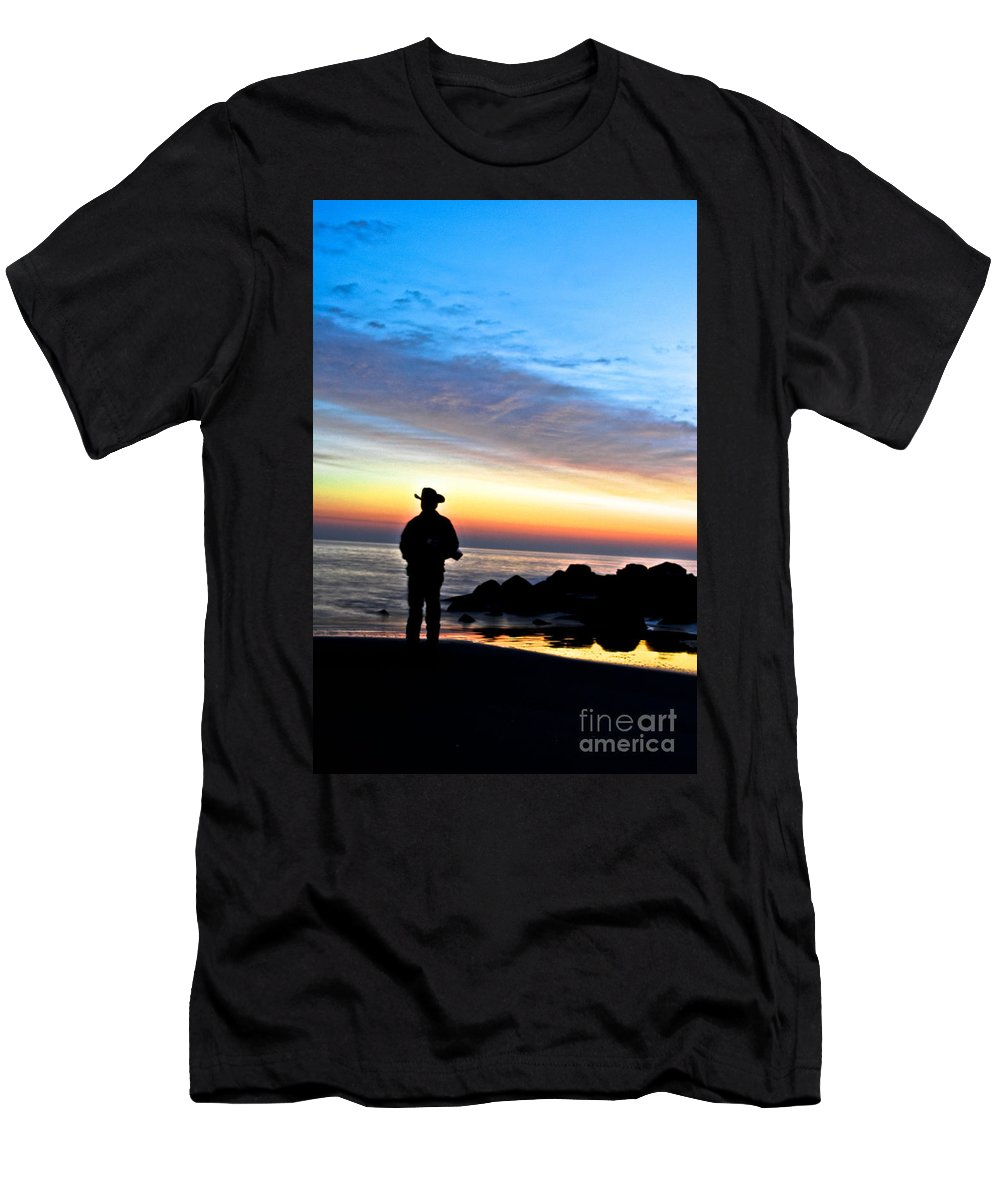 Jersey Shore Men's T-Shirt (Athletic Fit) featuring the digital art Cowboy Sunrise by Danielle Summa