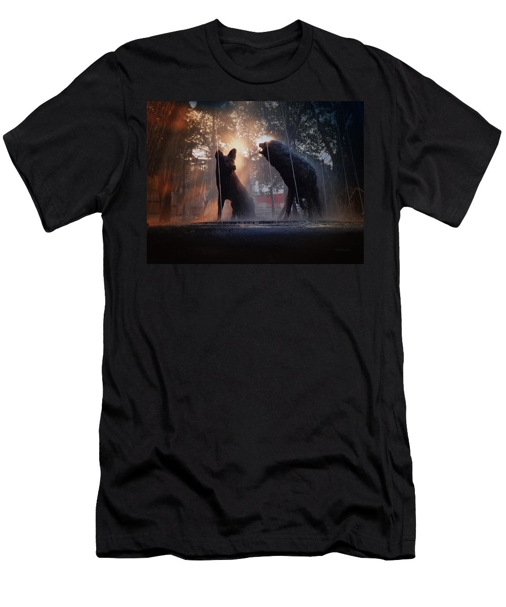 Coyotes Men's T-Shirt (Athletic Fit) featuring the photograph Coyoacan In Mexico City by Xueling Zou