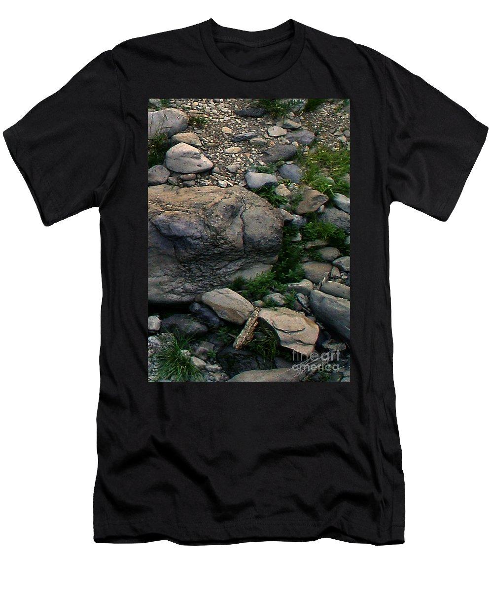 Creek Men's T-Shirt (Athletic Fit) featuring the digital art Creek Flow Panel 5 by Peter Piatt