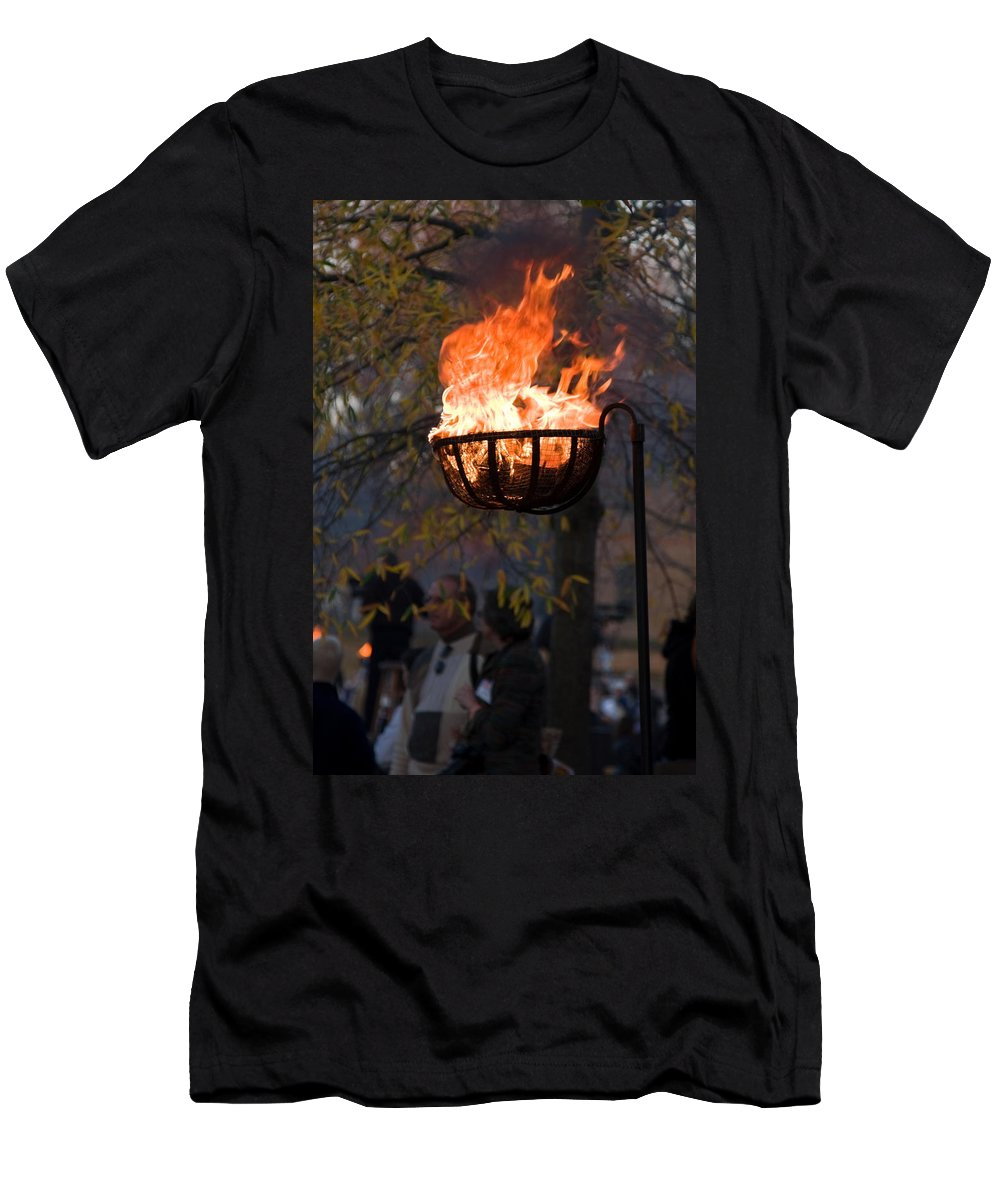 Cresset Burning Men's T-Shirt (Athletic Fit) featuring the photograph Cresset Giving Light by Sally Weigand