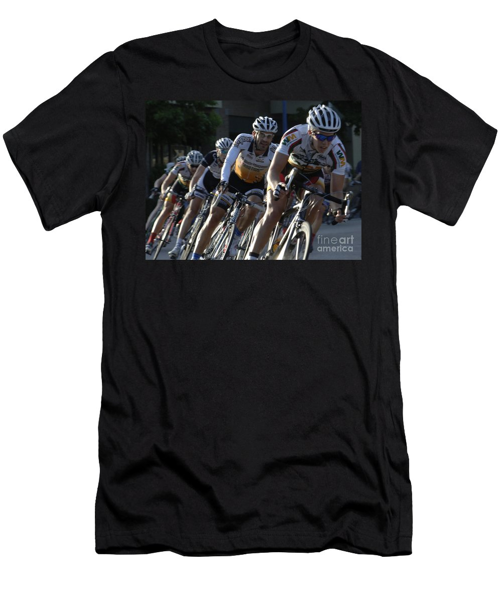Criterium Men's T-Shirt (Athletic Fit) featuring the photograph Criterium Bicycle Race 5 by Bob Christopher