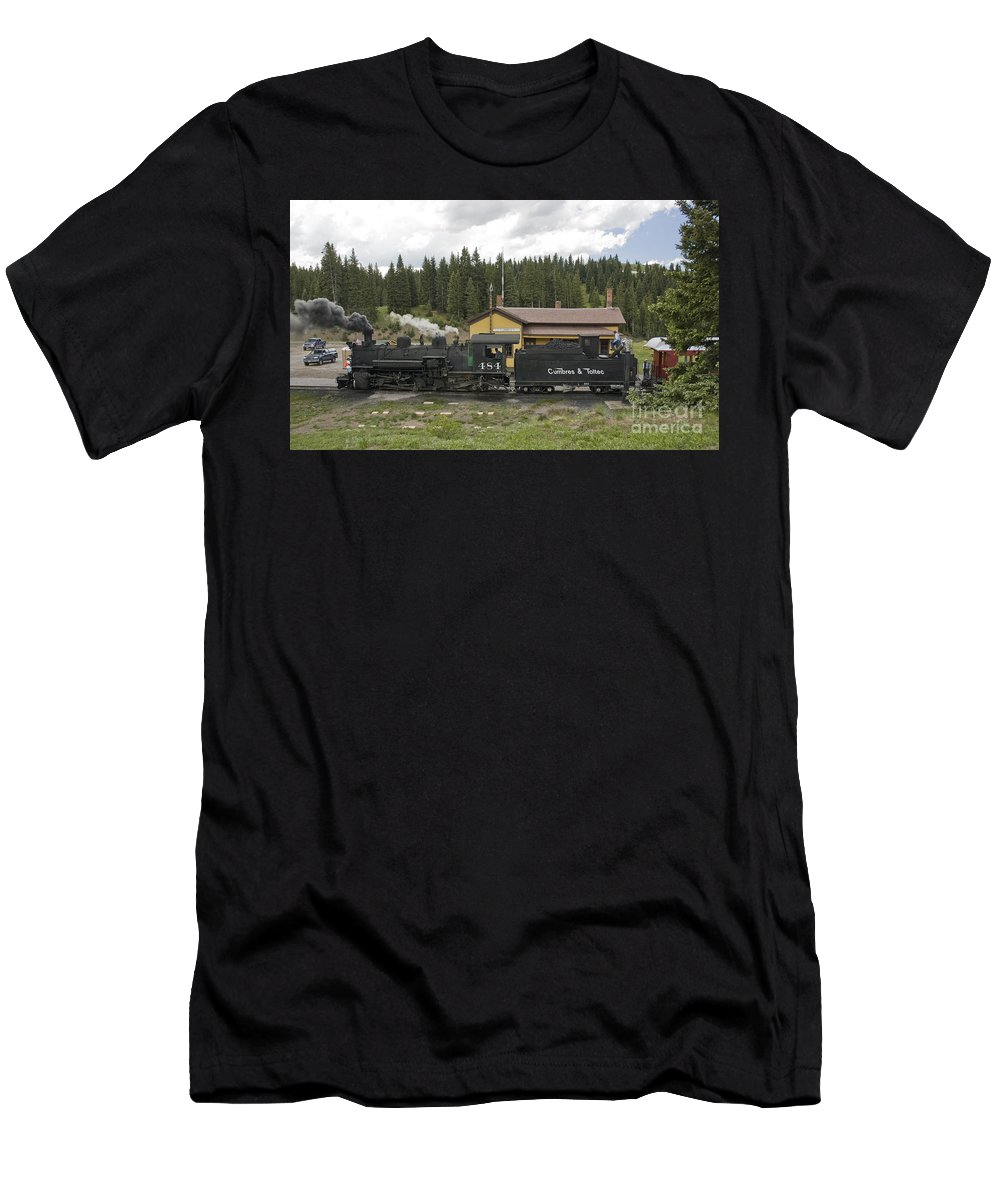 Cumbres & Toltec Men's T-Shirt (Athletic Fit) featuring the photograph Cumbres Pass Water Stop by Tim Mulina