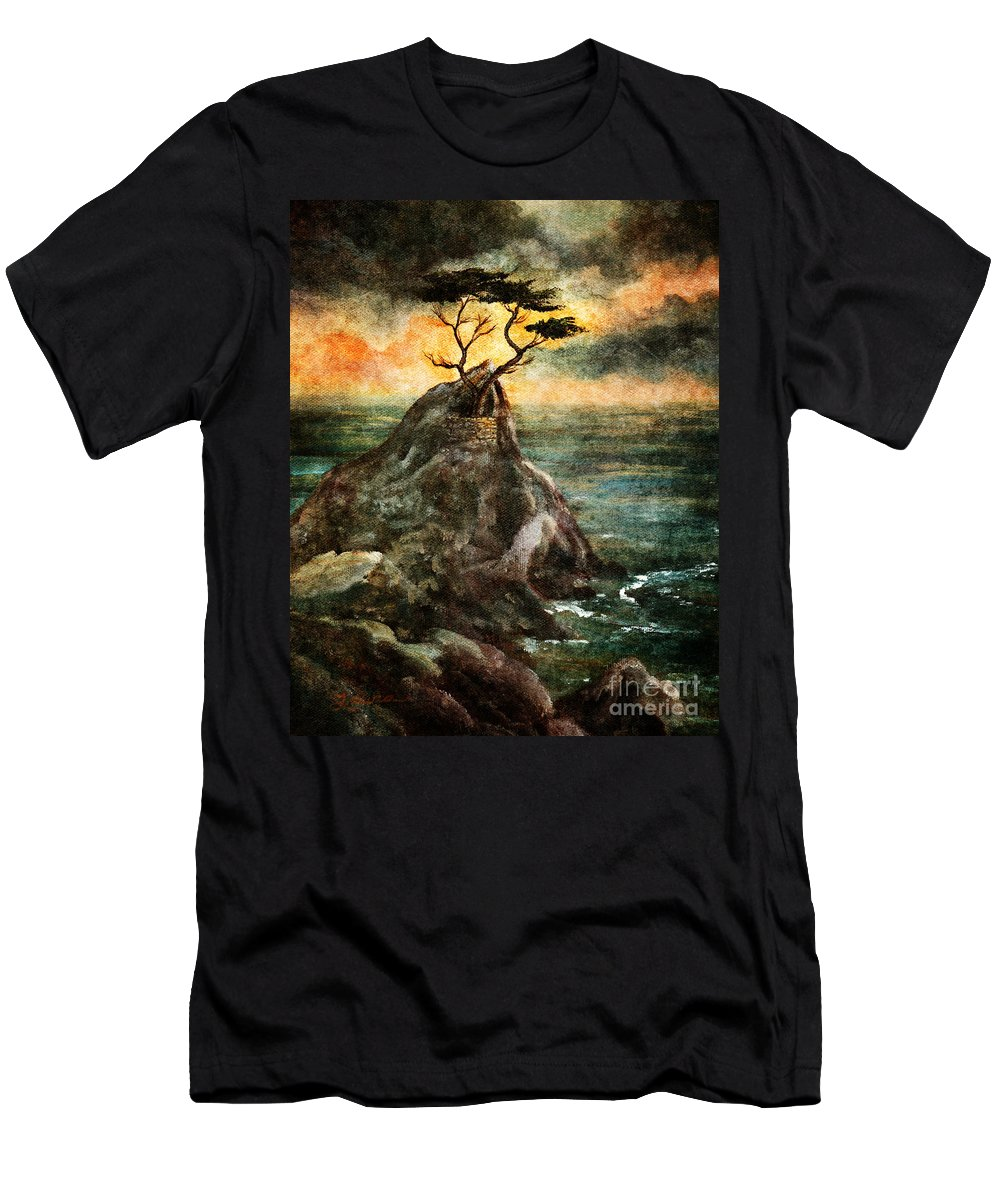 Grunge Men's T-Shirt (Athletic Fit) featuring the digital art Cypress Tree In Storm by Laura Iverson