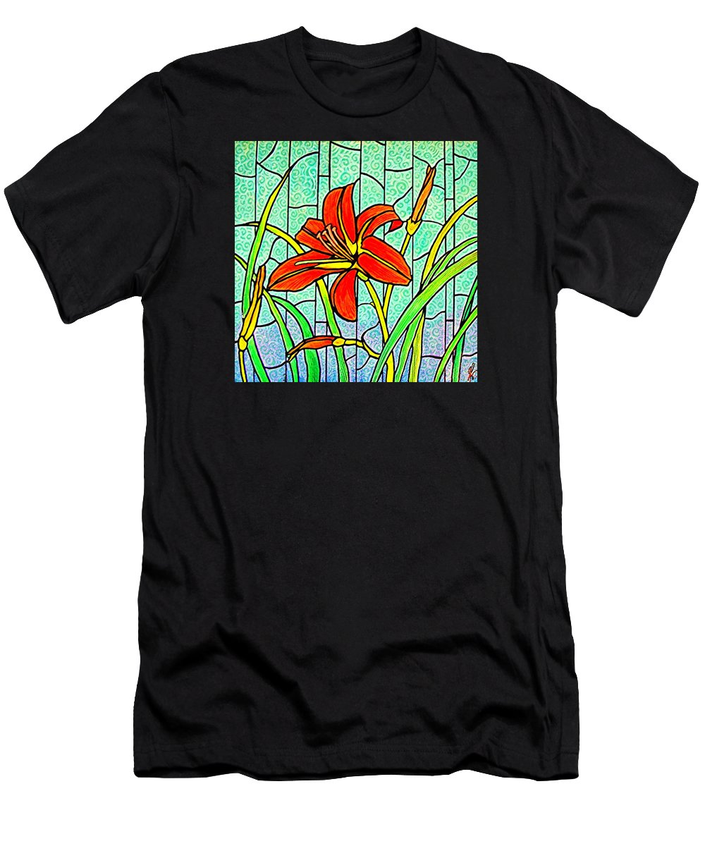 Flowers Men's T-Shirt (Athletic Fit) featuring the painting Day Lily by Jim Harris