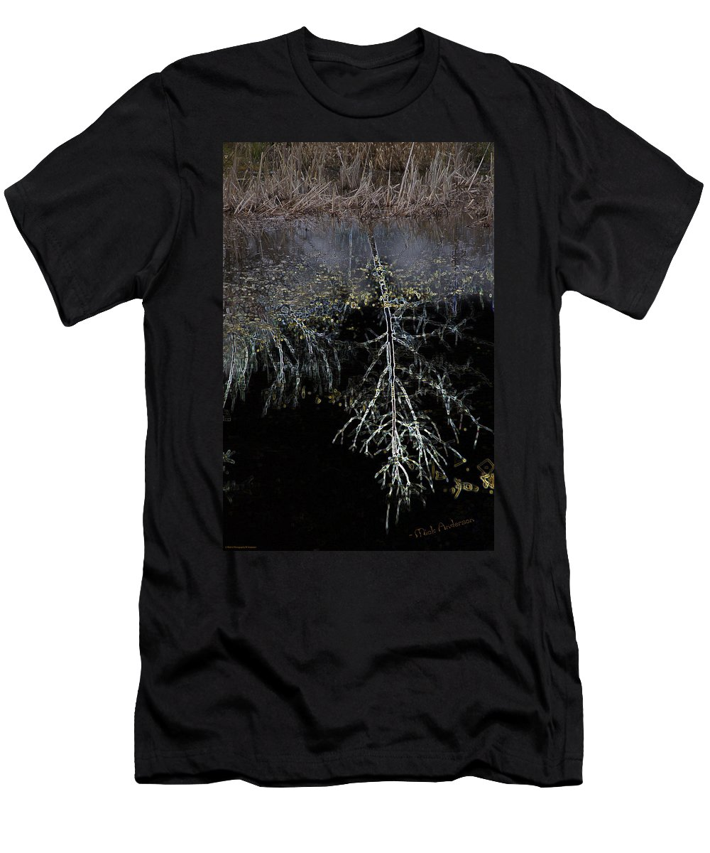 Special Effect Men's T-Shirt (Athletic Fit) featuring the photograph Dead Tree Reflects In Black Water by Mick Anderson