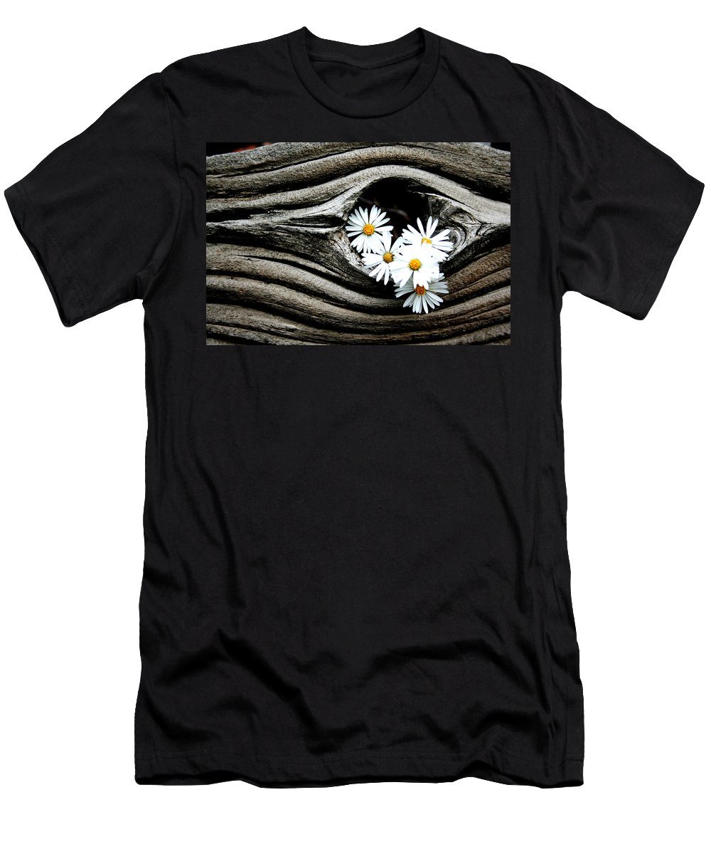 Flowers Men's T-Shirt (Athletic Fit) featuring the photograph Dead Wood And Asters by Ric Bascobert
