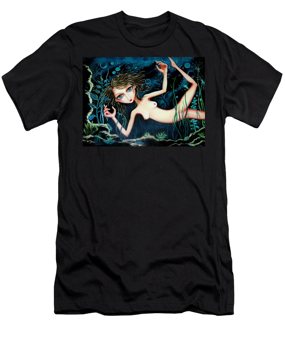 Girl Men's T-Shirt (Athletic Fit) featuring the painting Deep Pond Dreaming by Leanne Wilkes