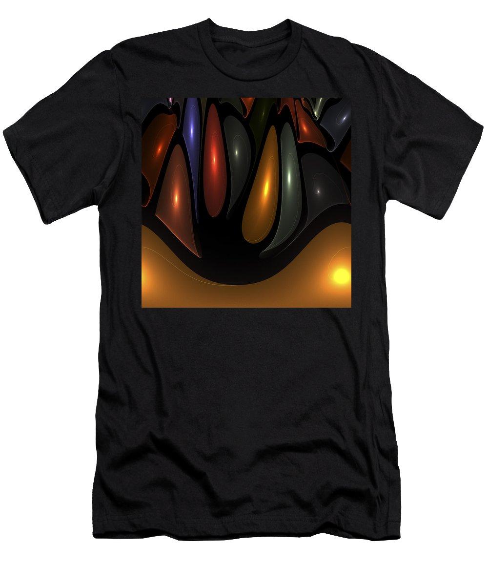 Bubble Bubbles Fractal Fractals Art Modern Color Colorful Light Lights Glowing Men's T-Shirt (Athletic Fit) featuring the digital art 'desert Bubbles by Steve K