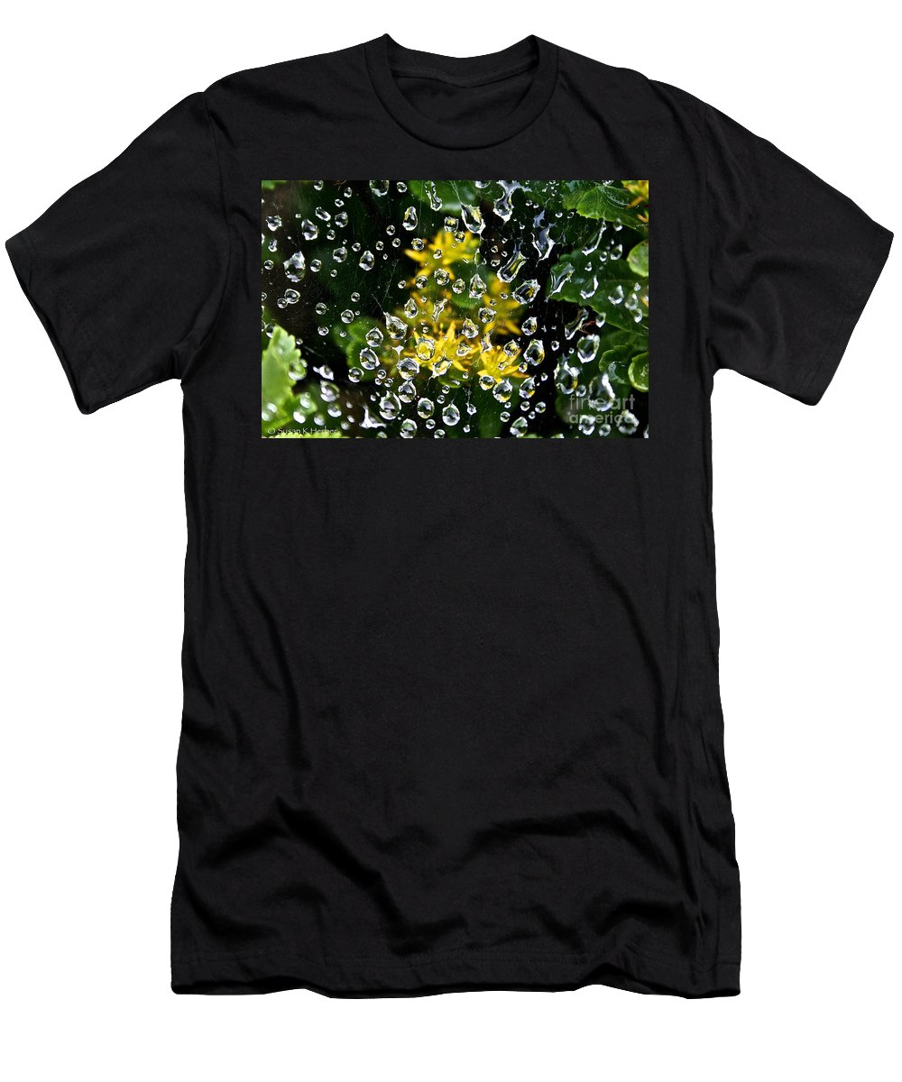 Outdoors Men's T-Shirt (Athletic Fit) featuring the photograph Diamond Studded Web by Susan Herber