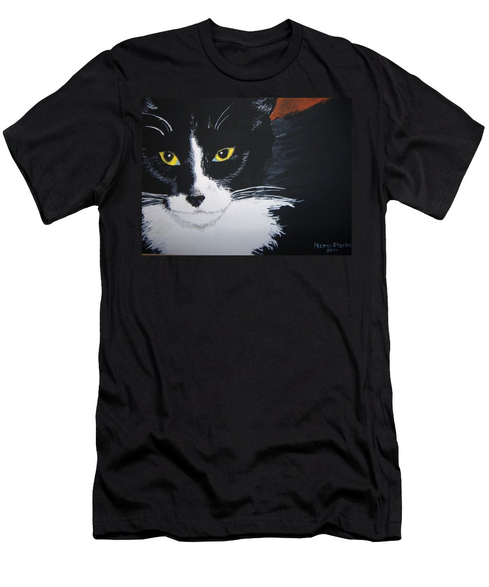 Cat Men's T-Shirt (Athletic Fit) featuring the painting Don't Bug Me by Norm Starks