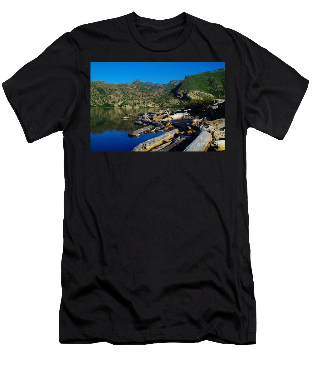 Driftwood Men's T-Shirt (Athletic Fit) featuring the photograph Driftwood by Jeff Swan