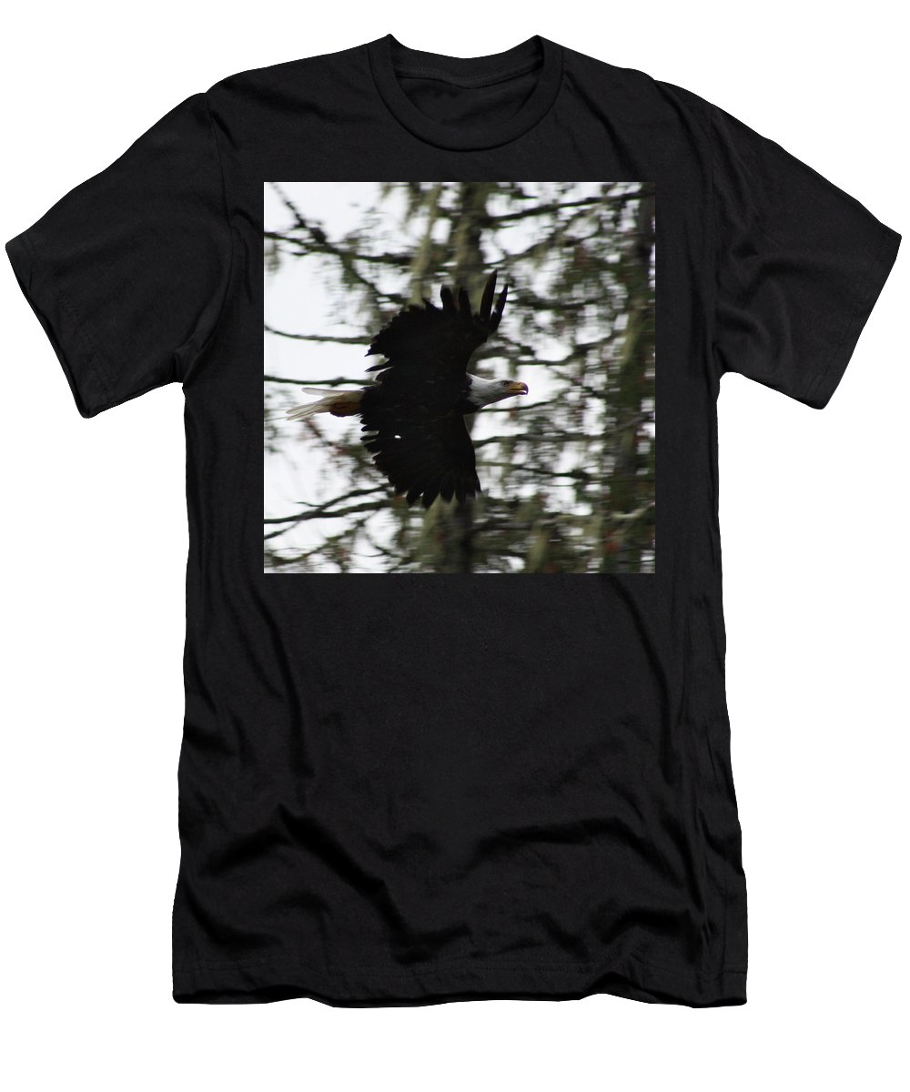 Eagle Men's T-Shirt (Athletic Fit) featuring the photograph Eagle Fly By by Cathie Douglas