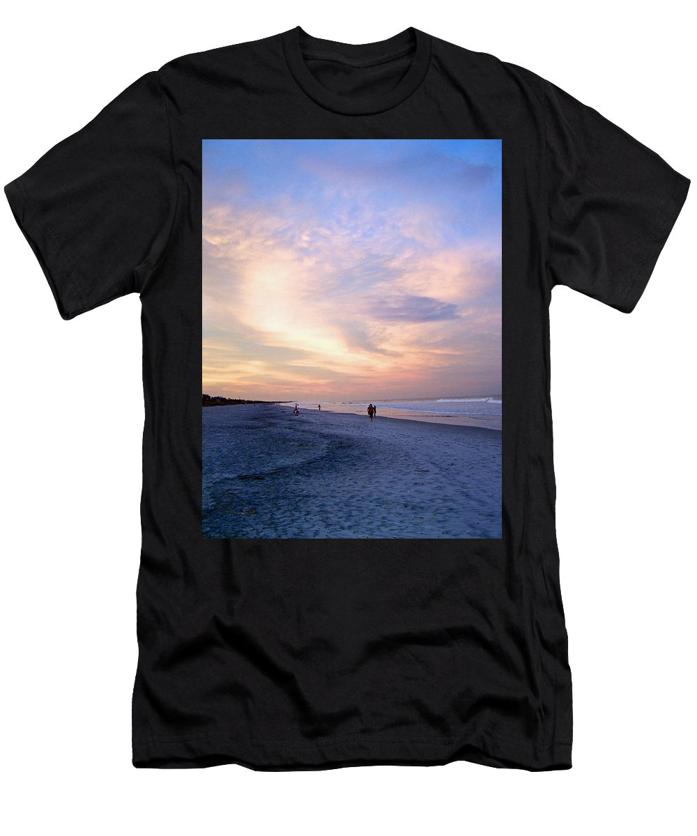 Beach Men's T-Shirt (Athletic Fit) featuring the photograph Early Evening Beach Walk by Patricia Taylor