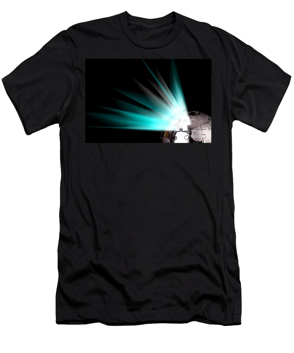 Strategy Men's T-Shirt (Athletic Fit) featuring the photograph Earth Globe With Blue Bursts by Simon Bratt Photography LRPS