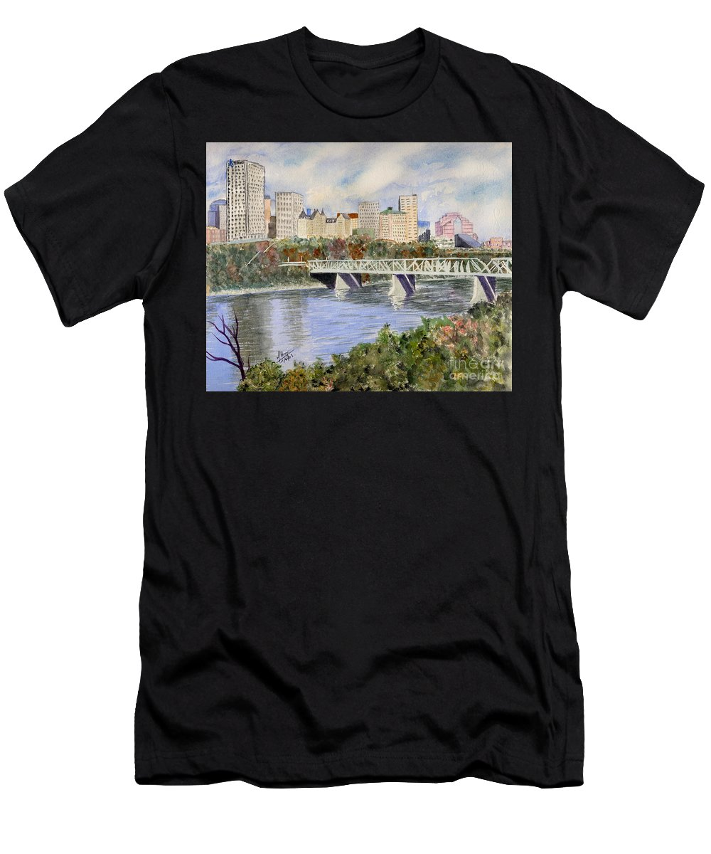 Men's T-Shirt (Athletic Fit) featuring the painting Edmonton Skyline by Mohamed Hirji