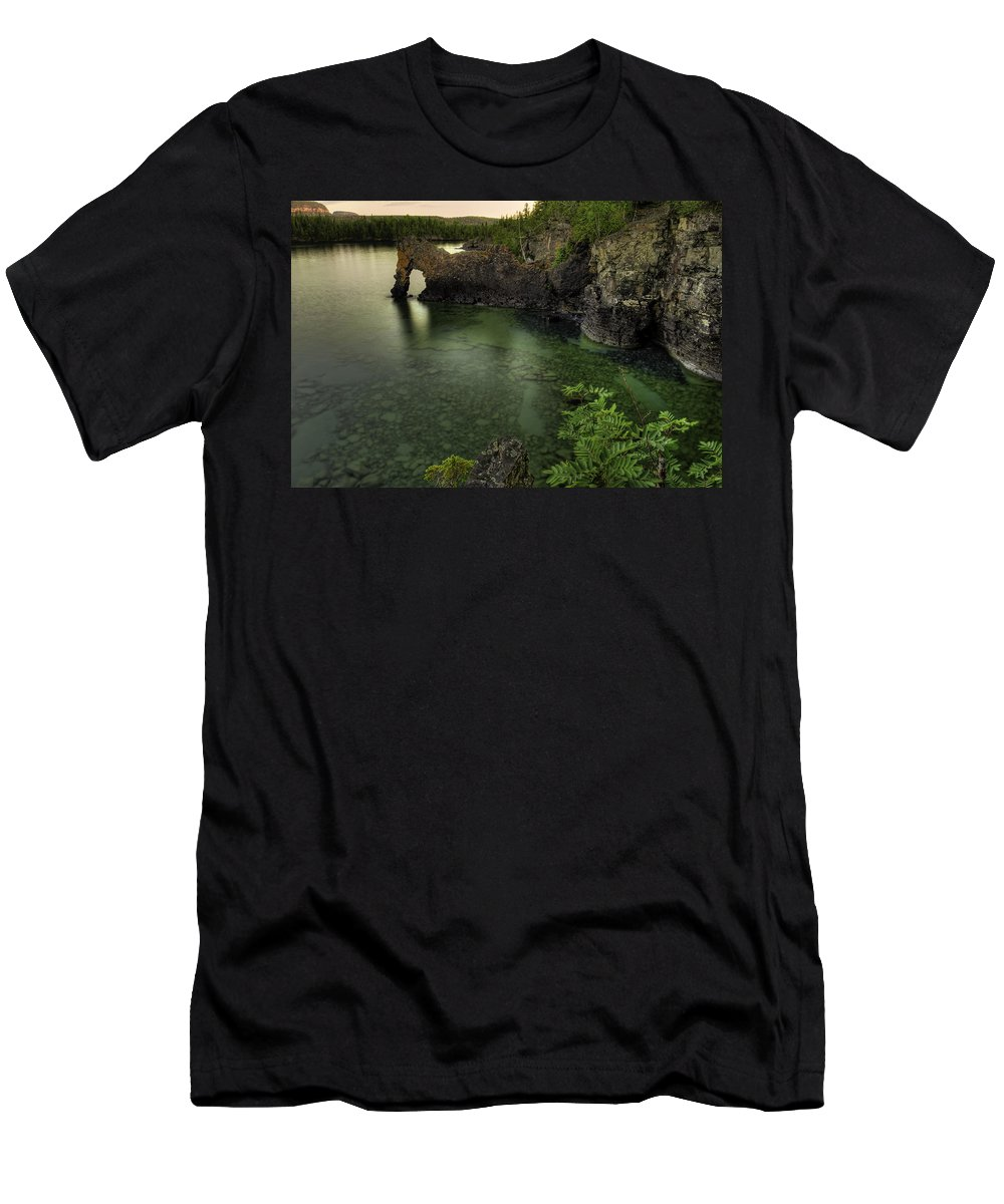 Bay Men's T-Shirt (Athletic Fit) featuring the photograph Elephant Rests In The Green Lagoon  by Jakub Sisak