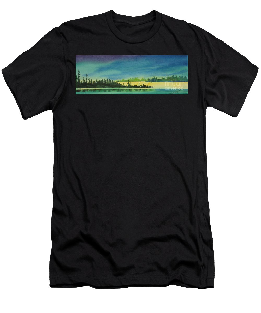 Men's T-Shirt (Athletic Fit) featuring the painting Elk Island Sundown 2 by Mohamed Hirji