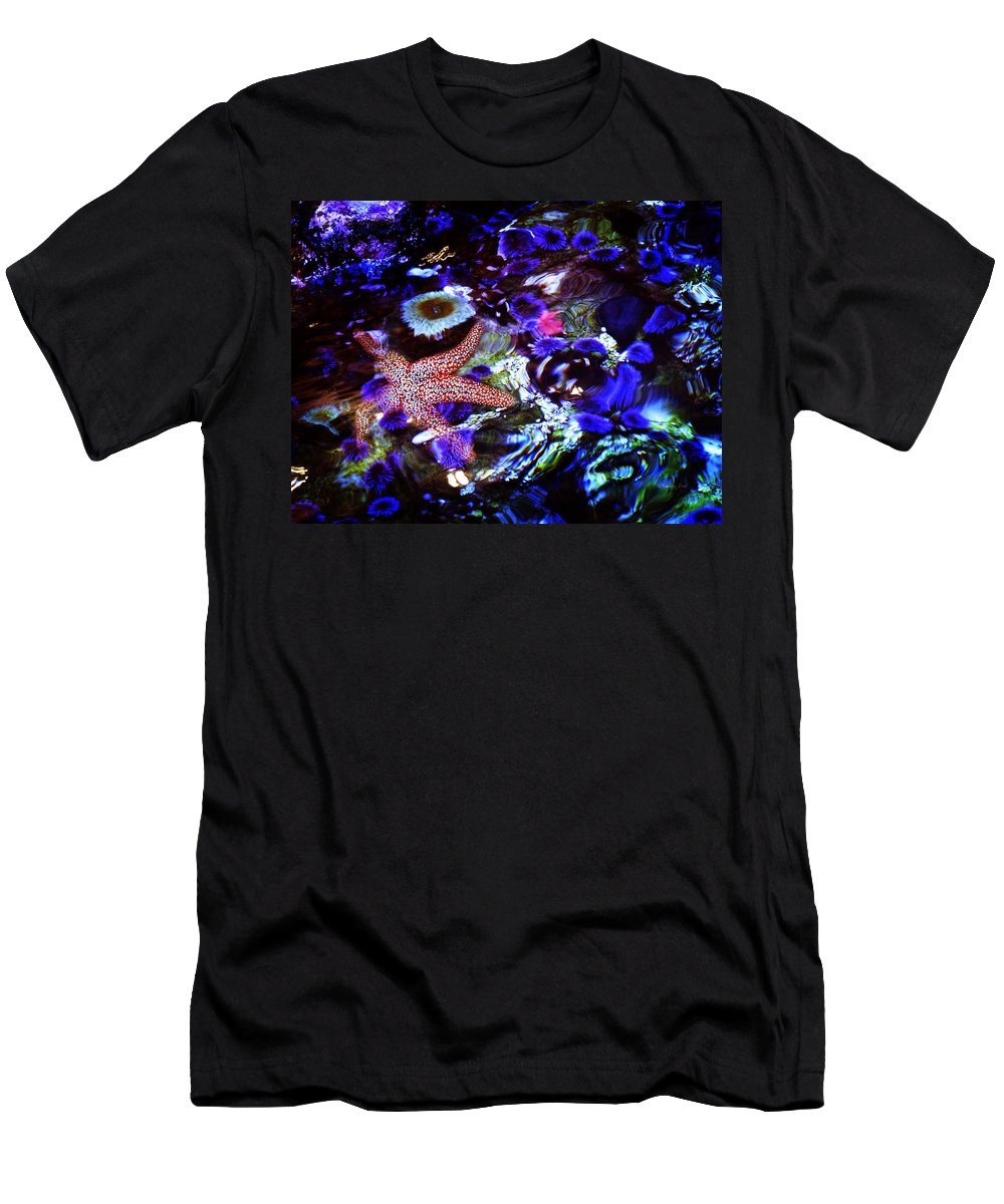 Aquarium Men's T-Shirt (Athletic Fit) featuring the photograph Emerged Starfish by Xueling Zou