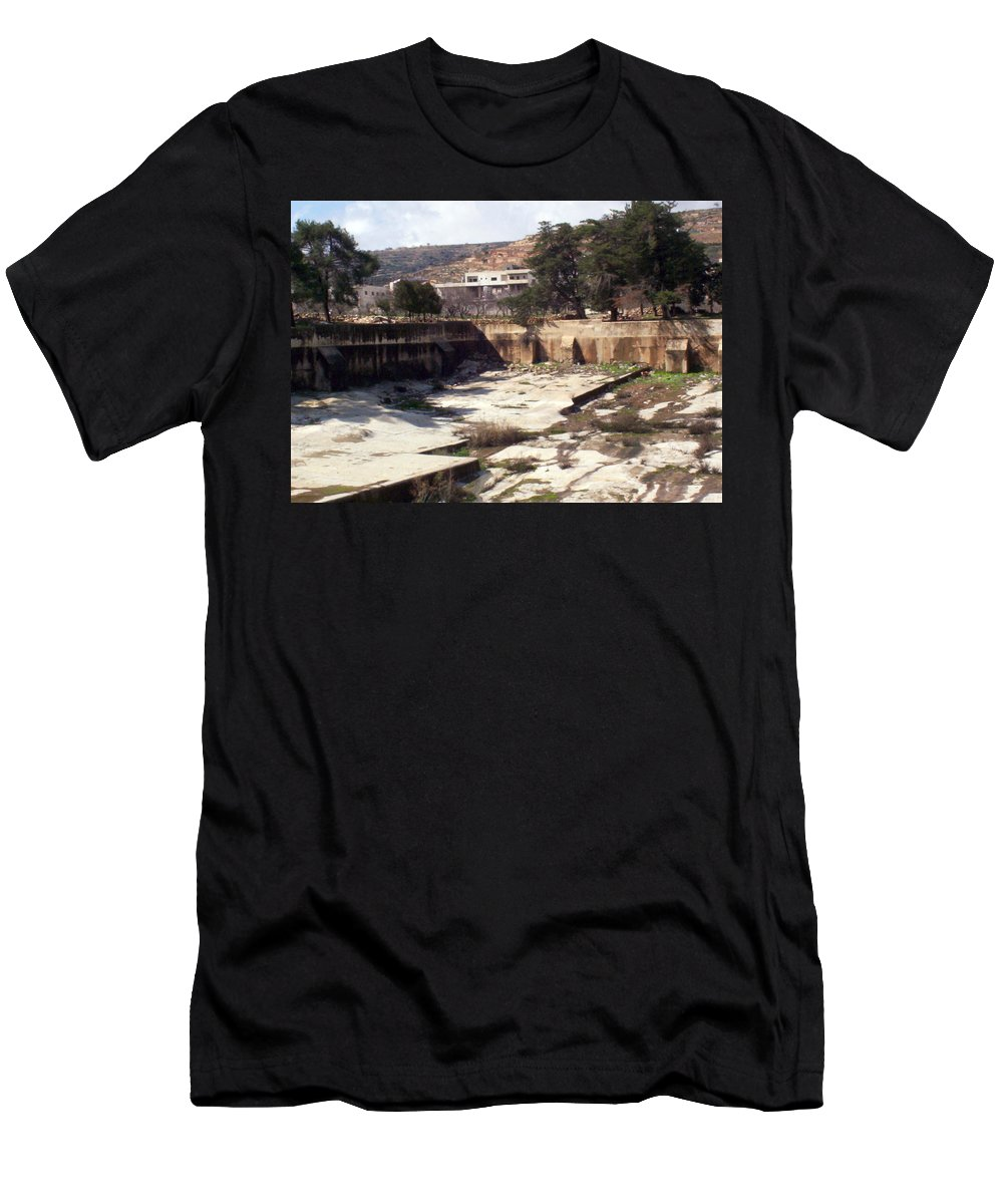 Solomon's Pools Men's T-Shirt (Athletic Fit) featuring the photograph Empty Pool by Munir Alawi