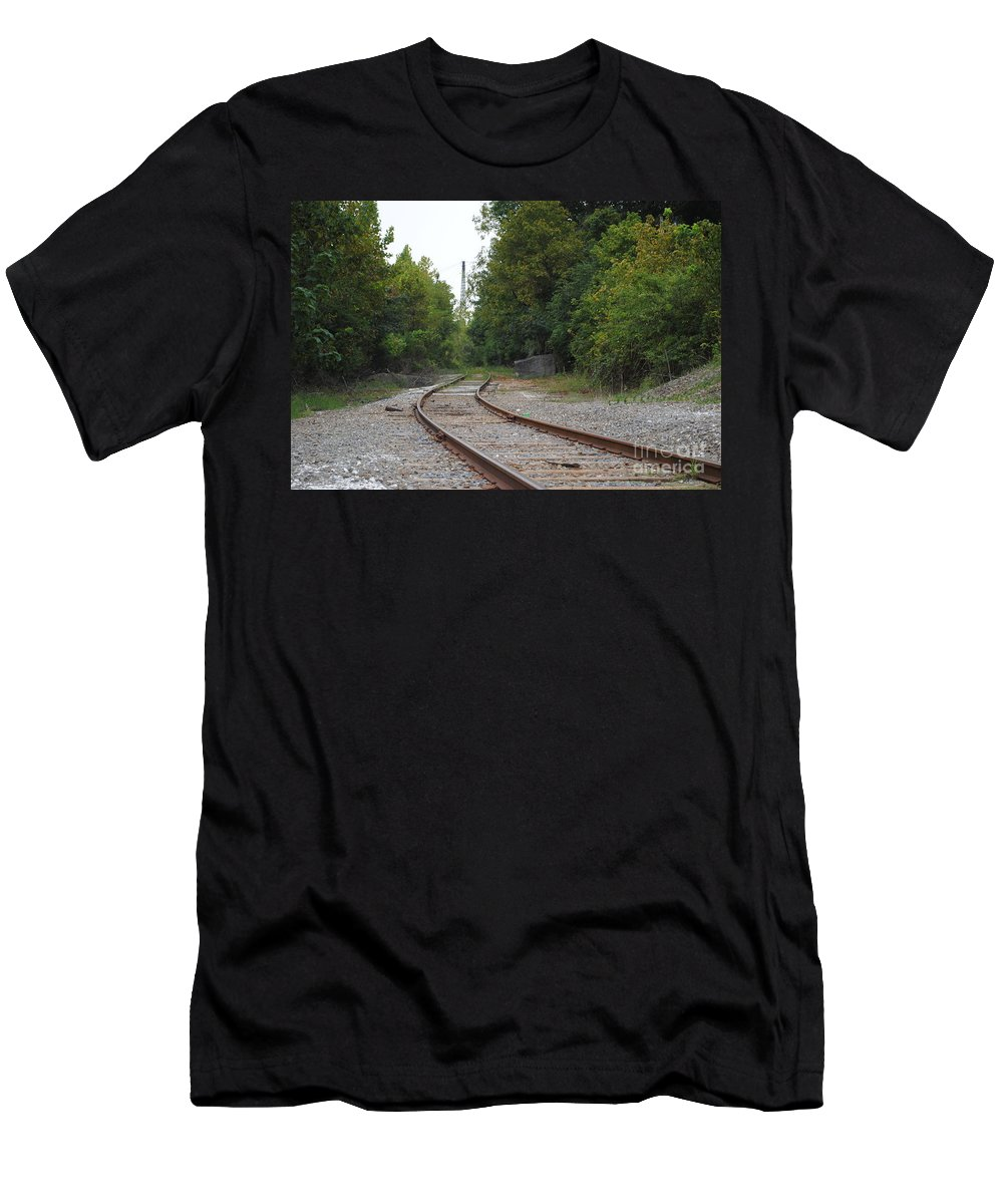 Rail Men's T-Shirt (Athletic Fit) featuring the photograph End Of The Rail by Jost Houk