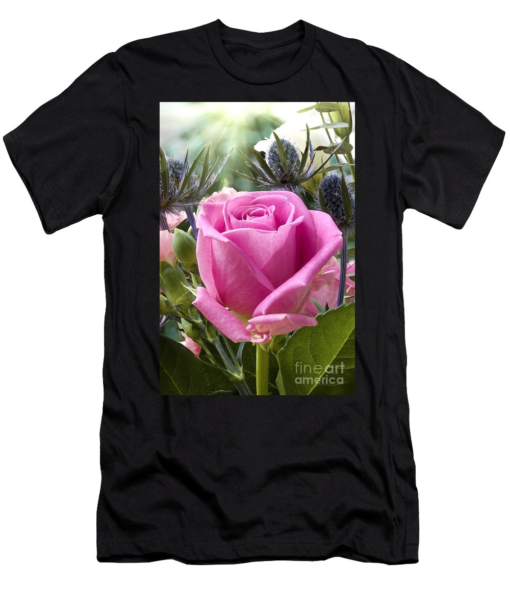 Flower Men's T-Shirt (Athletic Fit) featuring the photograph English Pink Rose Close Up by Simon Bratt Photography LRPS
